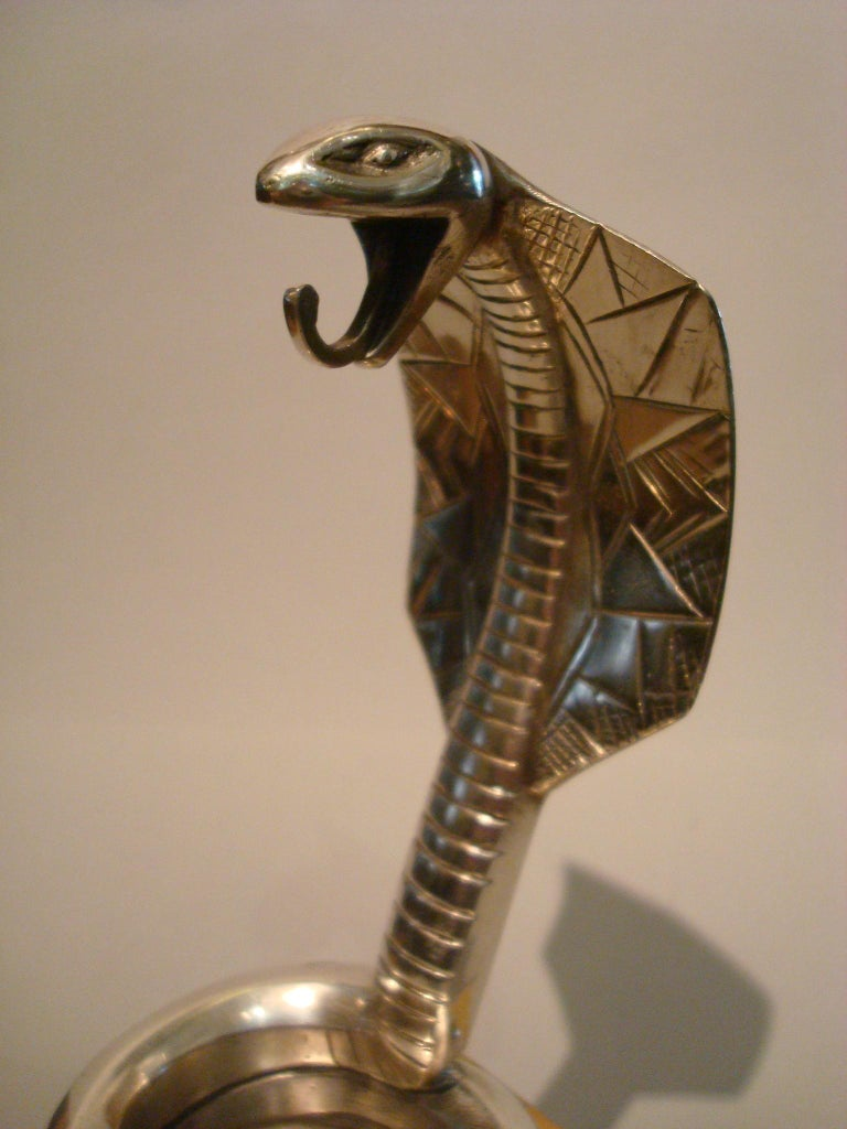 Art Deco Silvered Bronze Cobra Paperweight or Watch Stand by Rischmann France For Sale 4