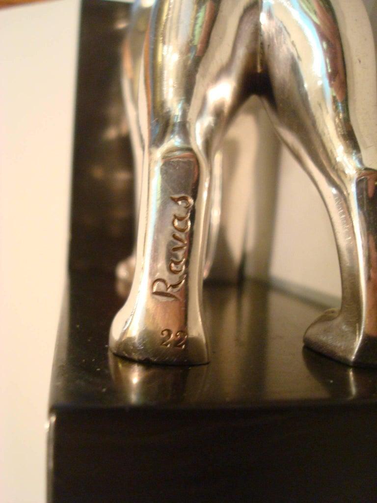 Art Deco Silvered Bronze Dog Bookends, Ravas For Sale 1