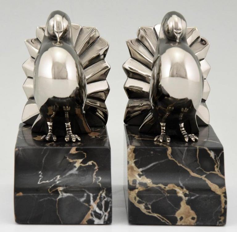 Art Deco Silvered Bronze Dove Bookends Scribe, France, 1930 In Good Condition For Sale In Antwerp, BE