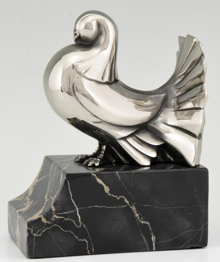 Art Deco Silvered Bronze Dove Bookends Scribe, France, 1930 For Sale 3