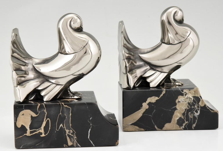 Art Deco Silvered Bronze Dove Bookends Scribe, France, 1930 For Sale 4