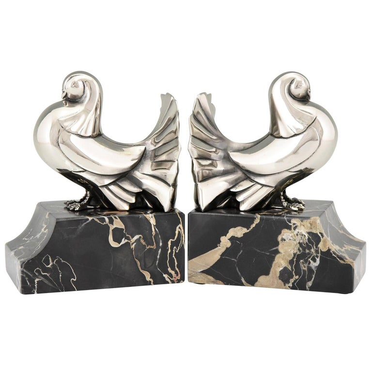 Art Deco Silvered Bronze Dove Bookends Scribe, France, 1930 For Sale