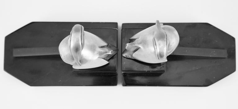 Art Deco Silvered Bronze Duck Bookends Georges H Laurent, France, 1925 For Sale 5