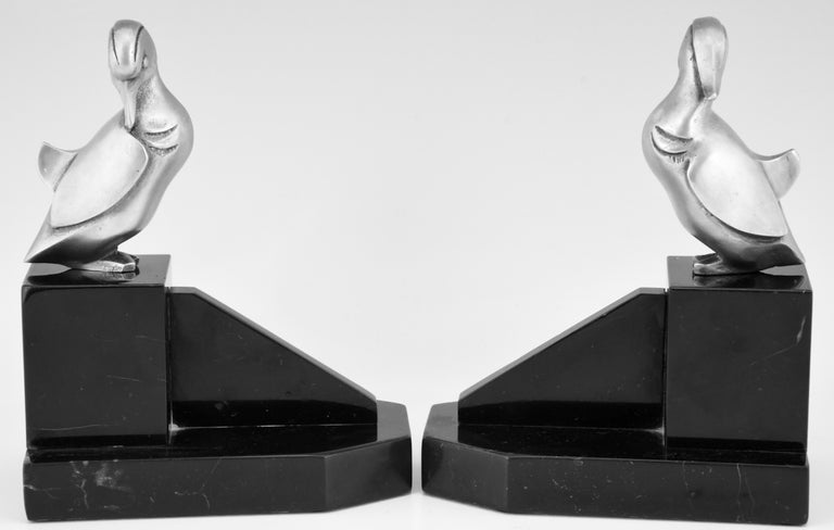 Patinated Art Deco Silvered Bronze Duck Bookends Georges H Laurent, France, 1925 For Sale