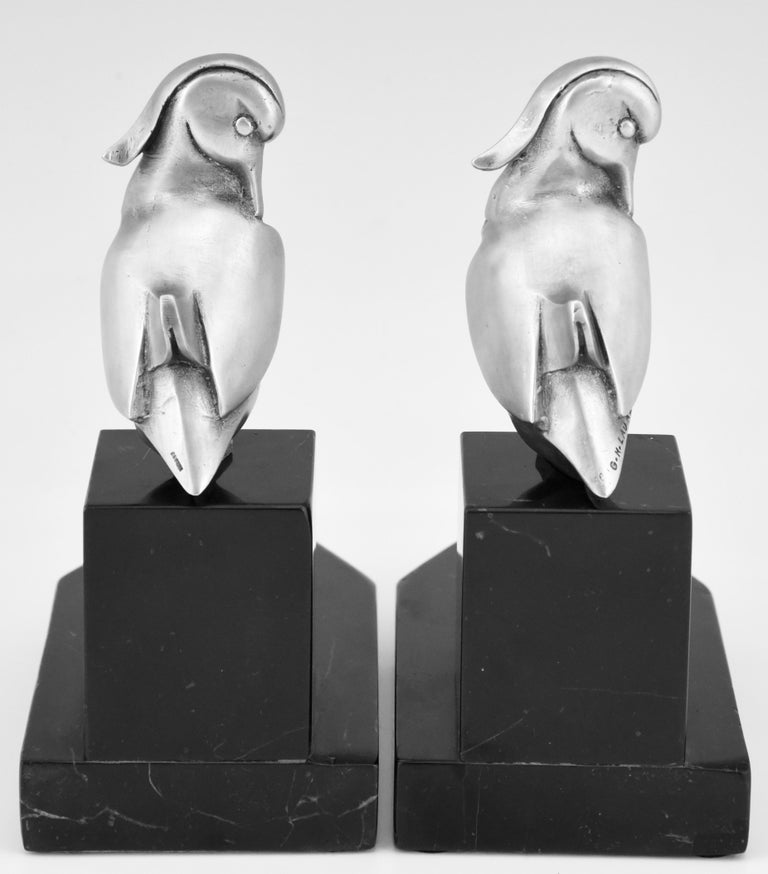 Art Deco Silvered Bronze Duck Bookends Georges H Laurent, France, 1925 In Good Condition For Sale In Antwerp, BE
