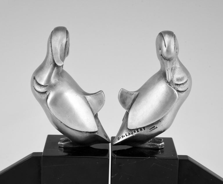 Art Deco Silvered Bronze Duck Bookends Georges H Laurent, France, 1925 For Sale 3