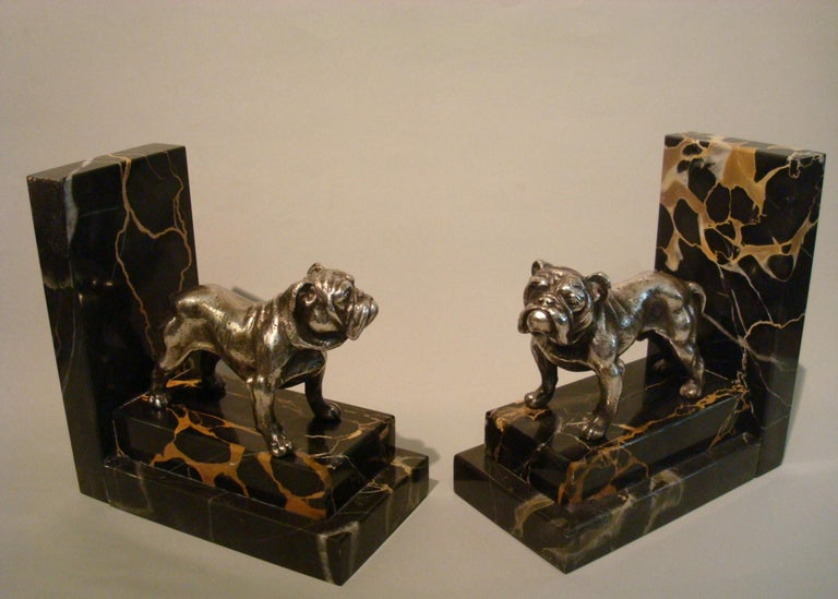 Art Deco silvered bronze English bulldog bookends.