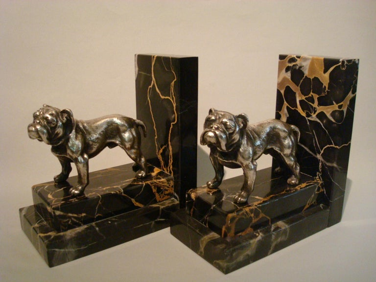 French Art Deco Silvered Bronze English Bulldog Bookends, France, 1920s For Sale