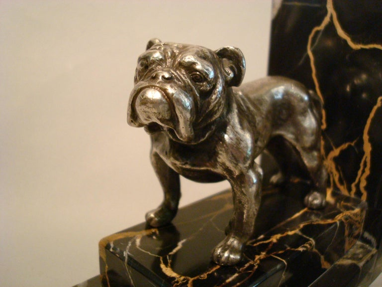 20th Century Art Deco Silvered Bronze English Bulldog Bookends, France, 1920s For Sale