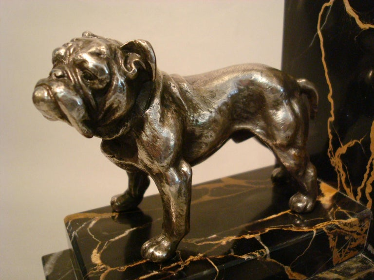 Art Deco Silvered Bronze English Bulldog Bookends, France, 1920s For Sale 1