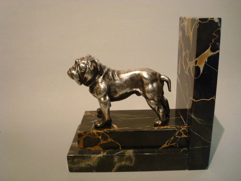 Art Deco Silvered Bronze English Bulldog Bookends, France, 1920s For Sale 2