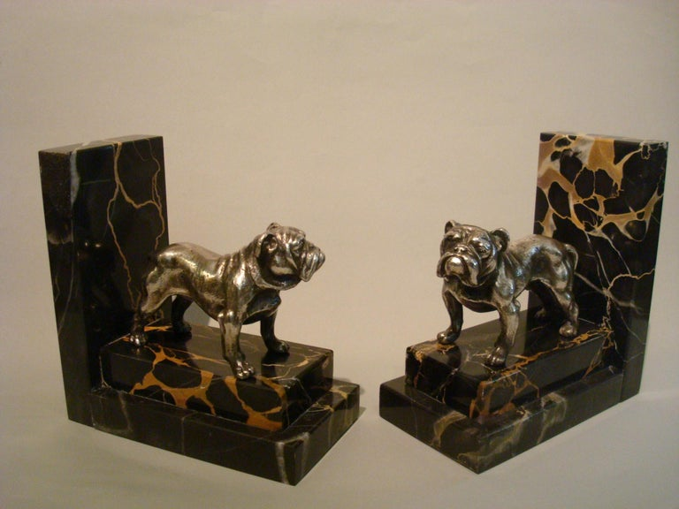 Art Deco Silvered Bronze English Bulldog Bookends, France, 1920s For Sale 3