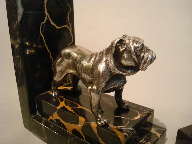 Art Deco Silvered Bronze English Bulldog Bookends, France, 1920s For Sale 4