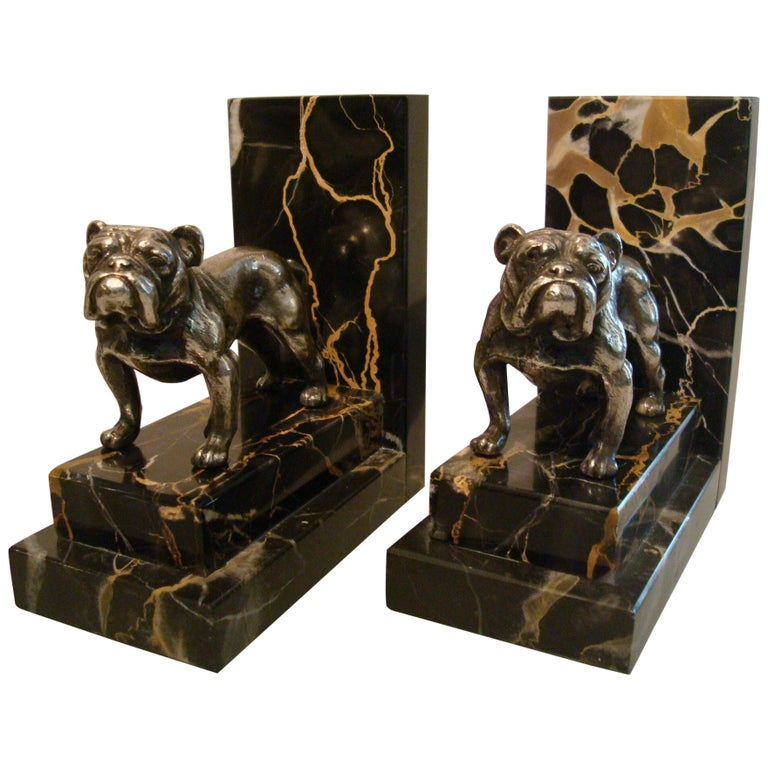 Art Deco Silvered Bronze English Bulldog Bookends, France, 1920s For Sale