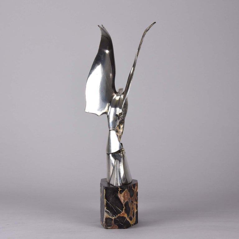 Art Deco Silvered Bronze Falcon by Henri Rischmann 1