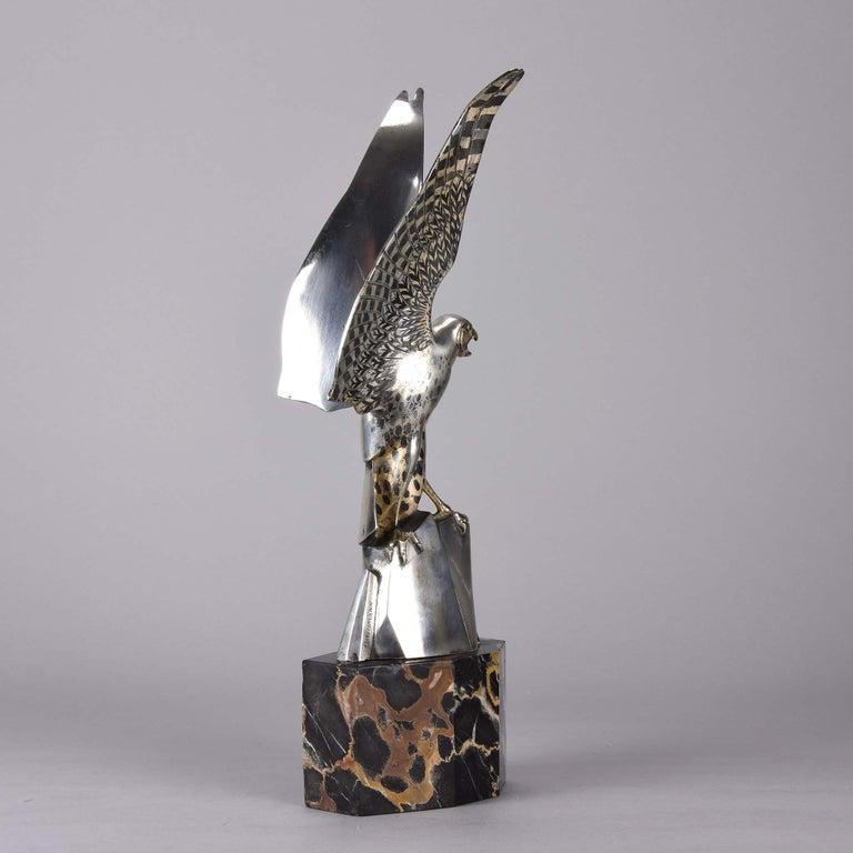 Art Deco Silvered Bronze Falcon by Henri Rischmann 2