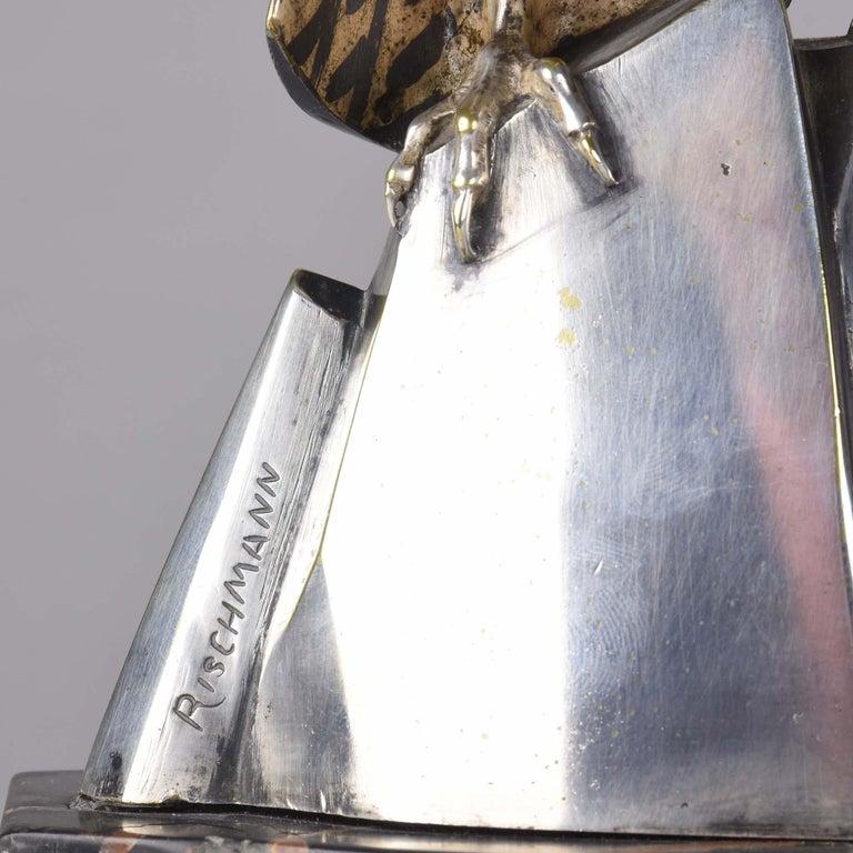 Art Deco Silvered Bronze Falcon by Henri Rischmann 3