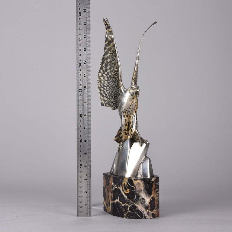 Art Deco Silvered Bronze Falcon by Henri Rischmann 4