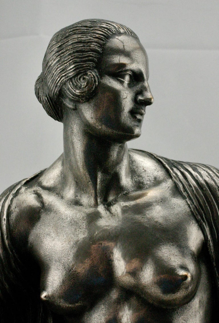 Art Deco silvered bronze nude sculpture by Joseph Jules Emmanuel Cormier (1869-1950). Prolific and well known sculptor, frequently worked under the name Joe Descomps. This sculpture signed