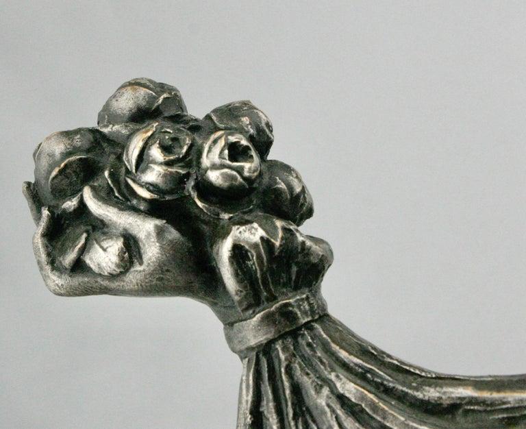 Cast Art Deco Silvered Bronze Nude Sculpture by Cormier 'Joe Descomps', circa 1920 For Sale