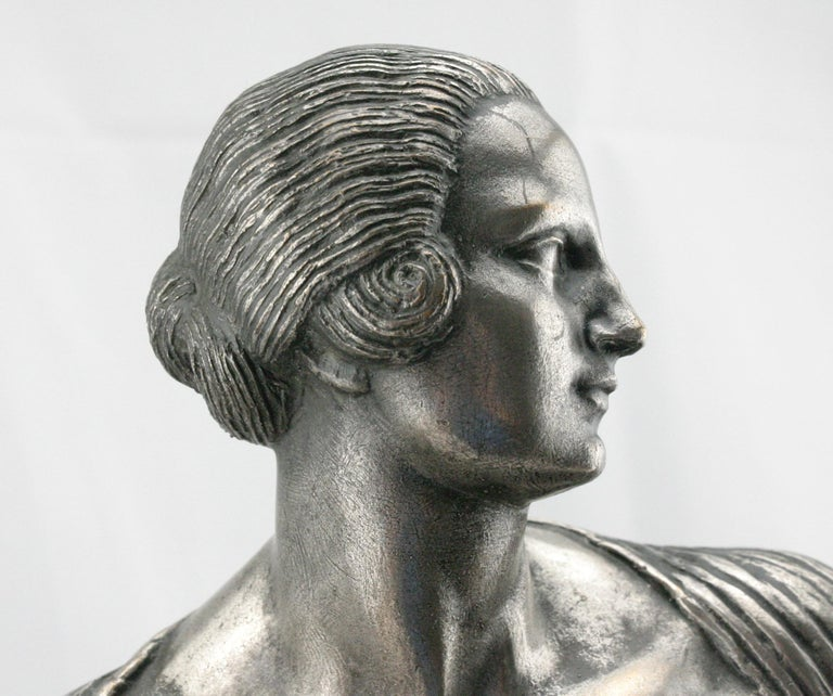 Art Deco Silvered Bronze Nude Sculpture by Cormier 'Joe Descomps', circa 1920 In Good Condition For Sale In Gainesville, FL