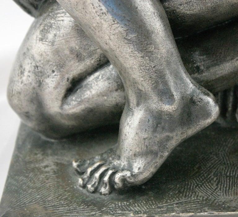 20th Century Art Deco Silvered Bronze Nude Sculpture by Cormier 'Joe Descomps', circa 1920 For Sale