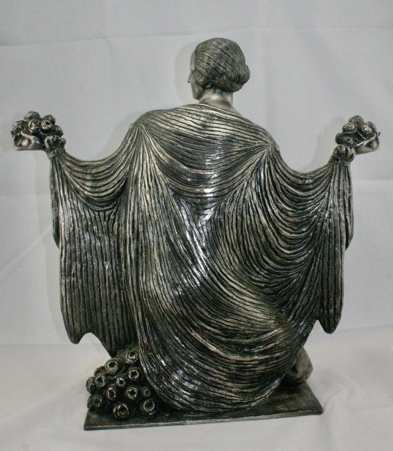 Art Deco Silvered Bronze Nude Sculpture by Cormier 'Joe Descomps', circa 1920 For Sale 1