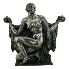 Art Deco Silvered Bronze Nude Sculpture by Cormier 'Joe Descomps', circa 1920