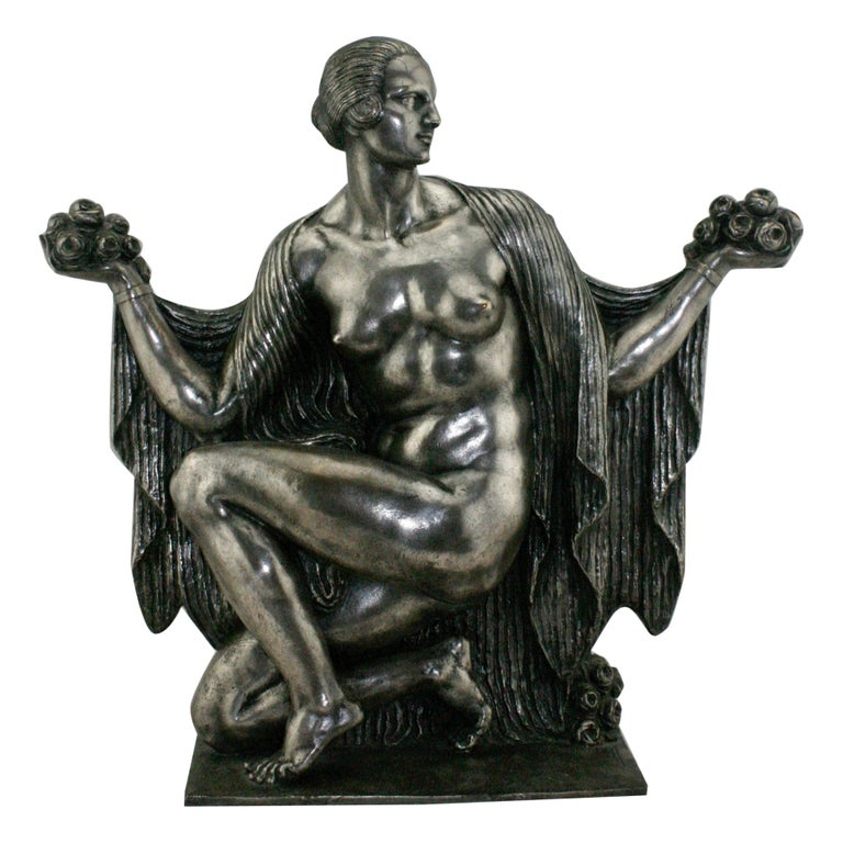 Art Deco Silvered Bronze Nude Sculpture by Cormier 'Joe Descomps', circa 1920 For Sale