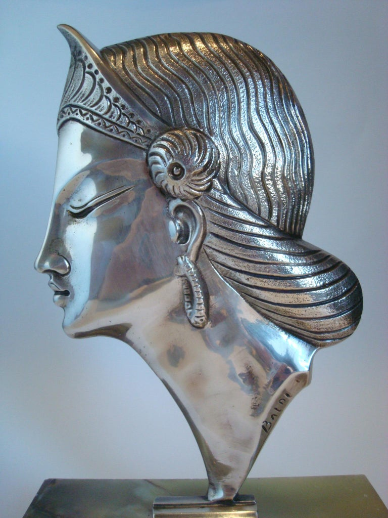 Italian Art Deco Silvered Bronze Sculpture / Bust of a Princess, 1920´s For Sale