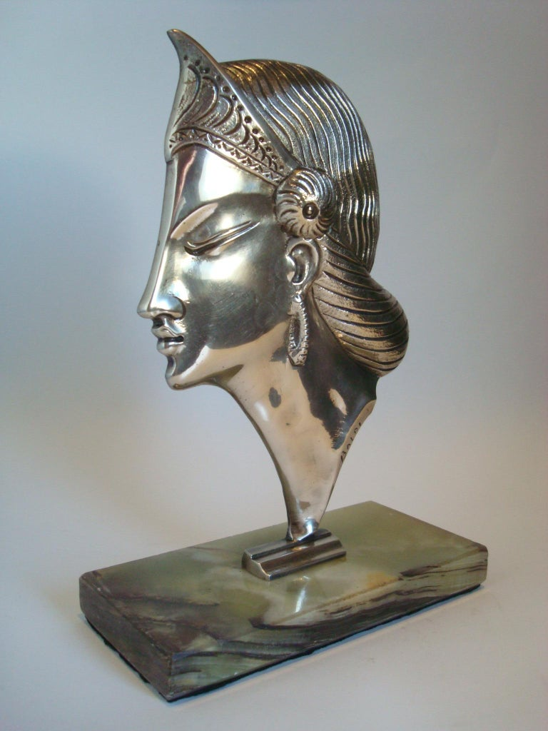 Early 20th Century Art Deco Silvered Bronze Sculpture / Bust of a Princess, 1920´s For Sale