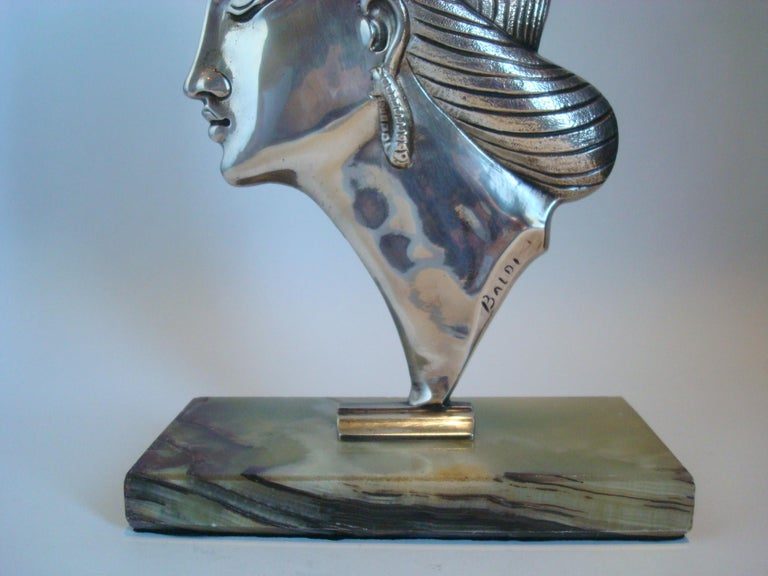 Art Deco Silvered Bronze Sculpture / Bust of a Princess, 1920´s For Sale 2