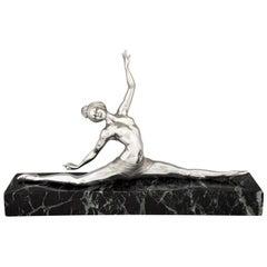 Art Deco Silvered Bronze Sculpture Nude Dancer by Morante, France, 1925