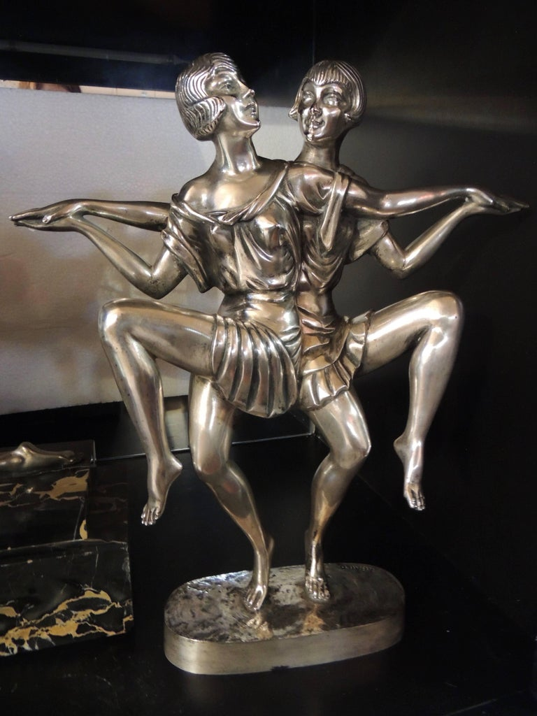 Art Deco Silvered Bronze Sculpture of Dancing Duo by I. Gallo For Sale 5