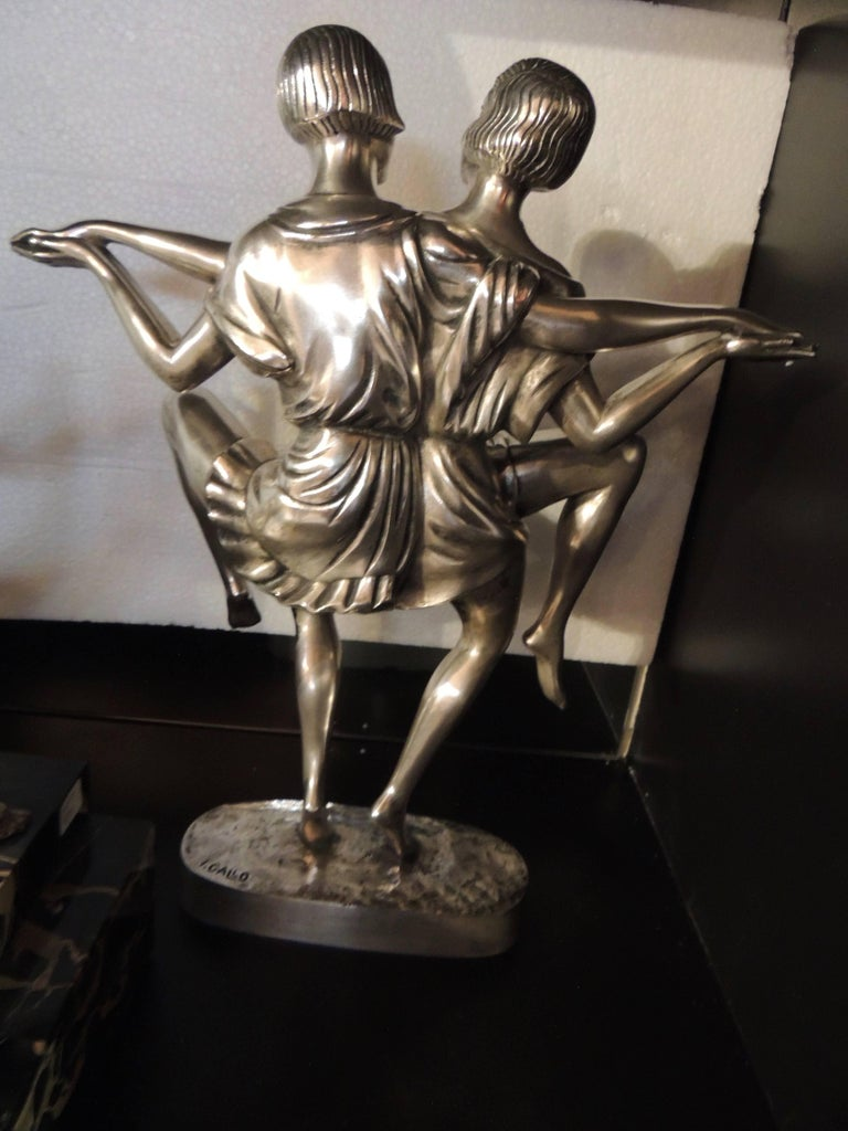 Art Deco Silvered Bronze Sculpture of Dancing Duo by I. Gallo In Good Condition For Sale In Oakland, CA
