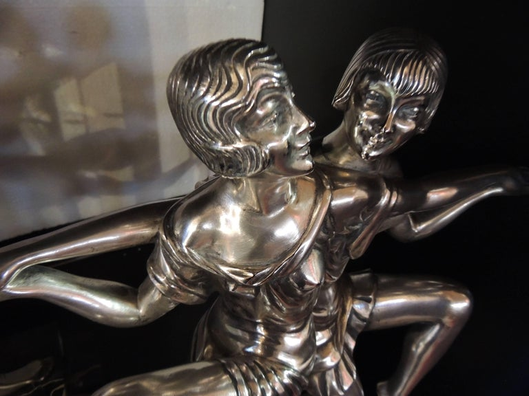 Art Deco Silvered Bronze Sculpture of Dancing Duo by I. Gallo For Sale 3