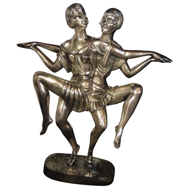 Art Deco Silvered Bronze Sculpture of Dancing Duo by I. Gallo For Sale