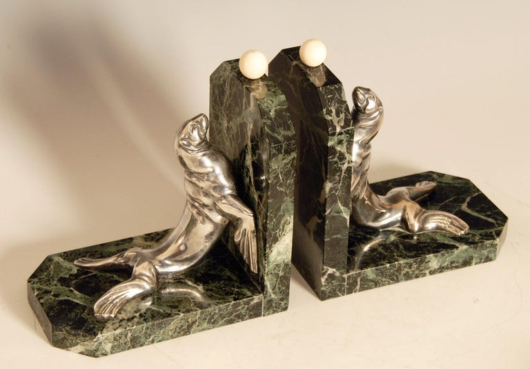 Art Deco Silvered Bronze Sea Lions on Marble Base Bookends by Maurice Frecourt For Sale 5
