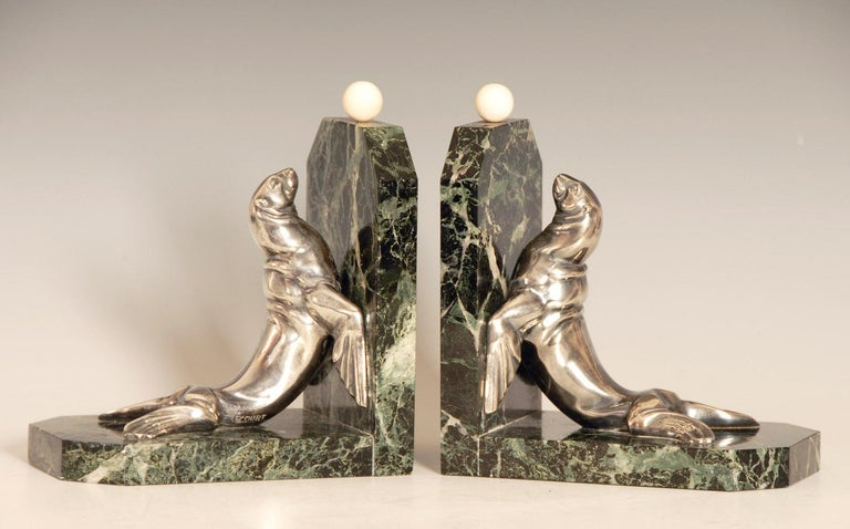 20th Century Art Deco Silvered Bronze Sea Lions on Marble Base Bookends by Maurice Frecourt For Sale