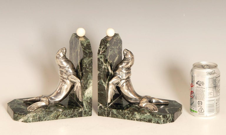 Art Deco Silvered Bronze Sea Lions on Marble Base Bookends by Maurice Frecourt For Sale 1