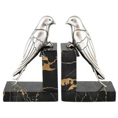 Art Deco Silvered Bronze Swallow Bookends Suzanne Bizard, France, 1930
