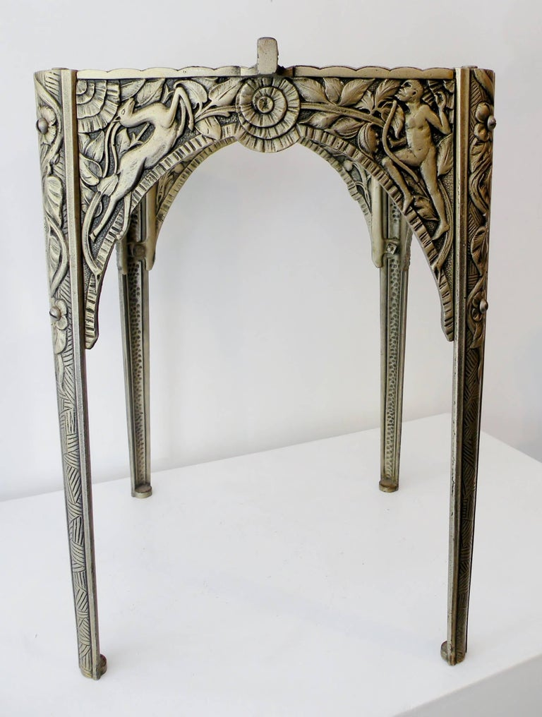 Art Deco Silvered Cast Iron Side Cocktail Table Lightolier For Sale 10