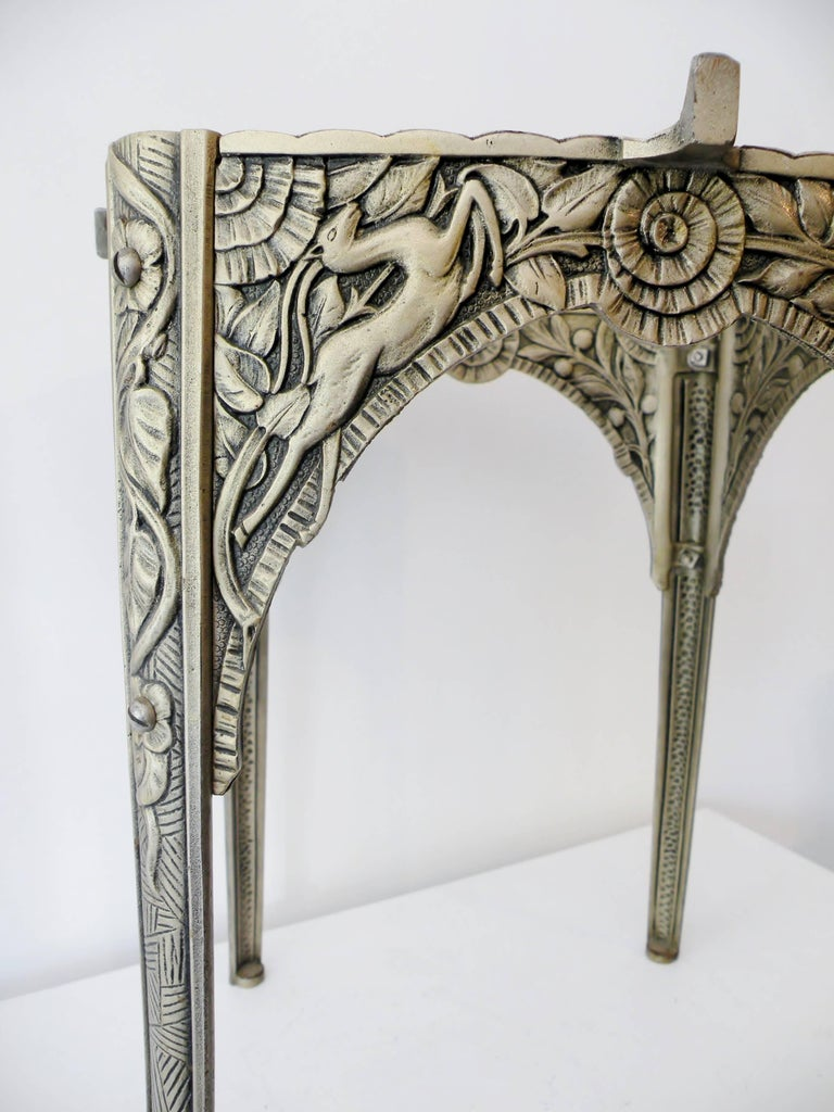 Art Deco Silvered Cast Iron Side Cocktail Table Lightolier In Excellent Condition For Sale In Denver, CO