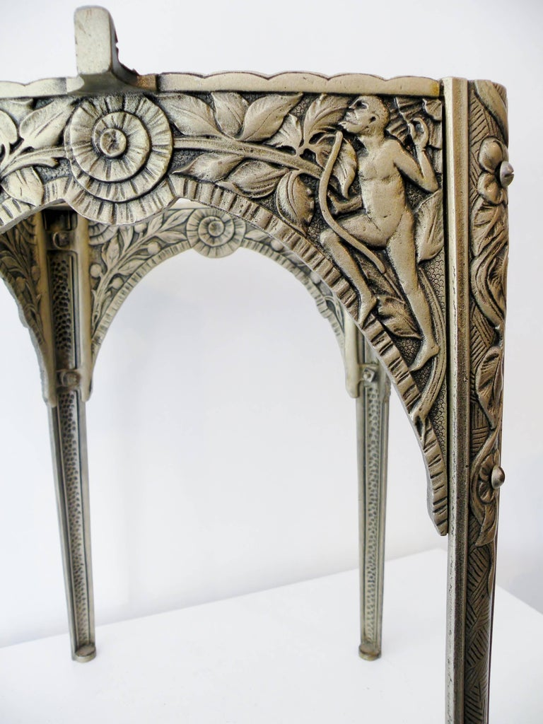Early 20th Century Art Deco Silvered Cast Iron Side Cocktail Table Lightolier For Sale
