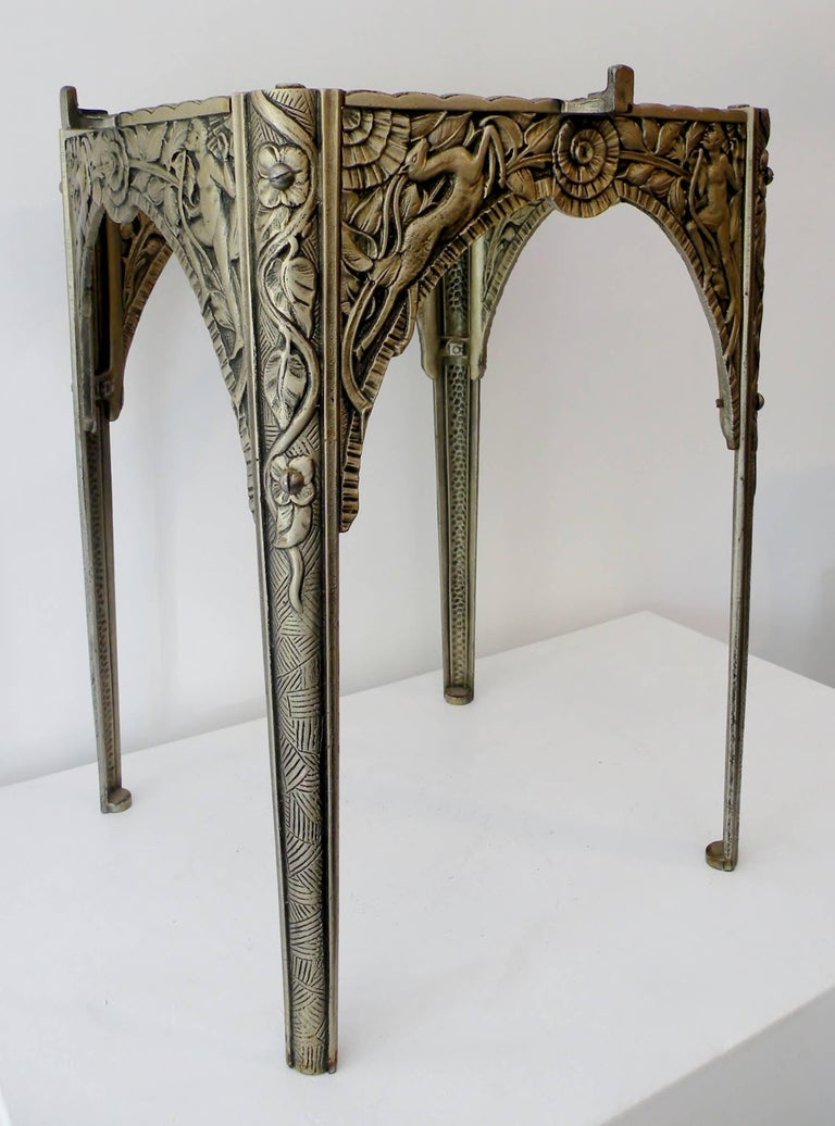 Art Deco Silvered Cast Iron Side Cocktail Table Lightolier For Sale 2