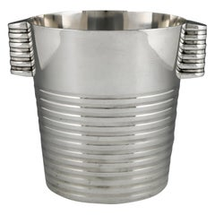 Art Deco Silvered Champagne Bucket Luc Lanel for Christofle, 1935, France