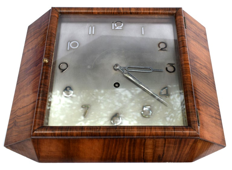 Art Deco Silvered Dial Wall Clock, circa 1930 For Sale 4