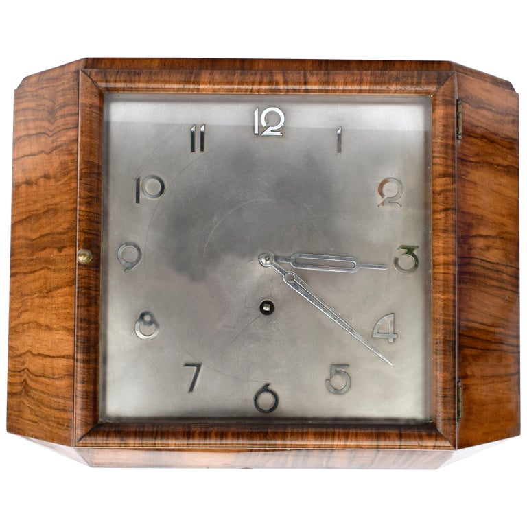Art Deco Silvered Dial Wall Clock, circa 1930 For Sale