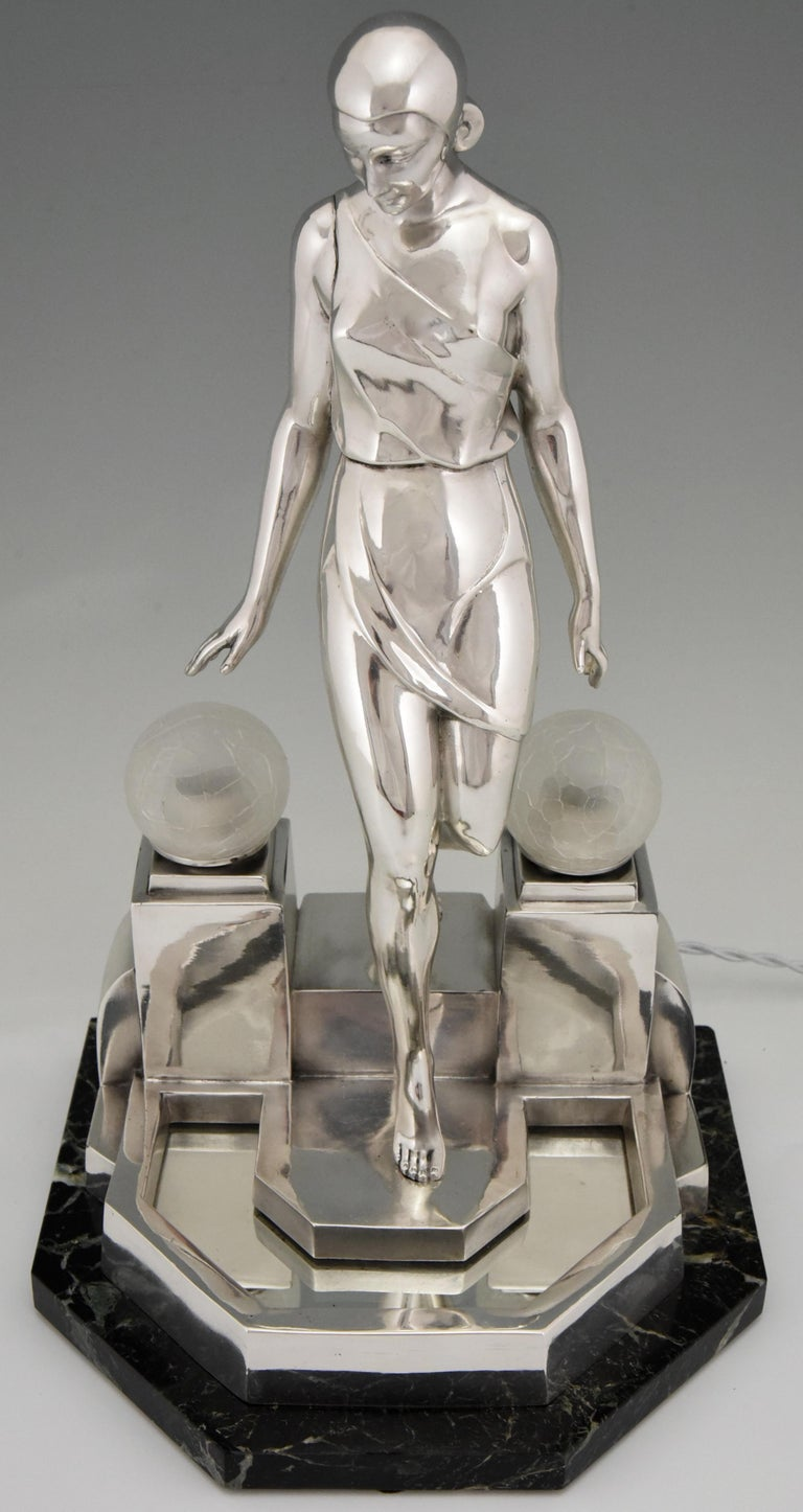 French Art Deco Silvered Lady Lamp Nausicaa Fayral Pierre Le Faguays for Max Le Verrier For Sale