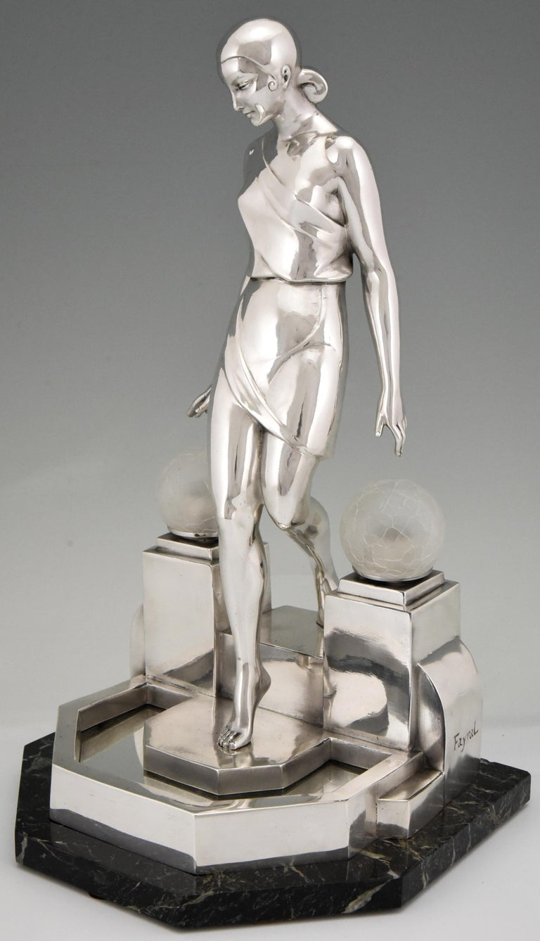 Art Deco Silvered Lady Lamp Nausicaa Fayral Pierre Le Faguays for Max Le Verrier In Good Condition For Sale In Antwerp, BE